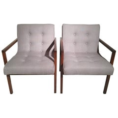 Pair of Midcentury Walnut Armchairs