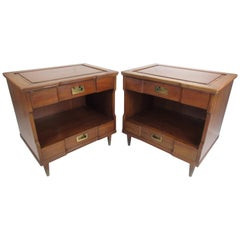 Pair of Midcentury Walnut Nightstands by John Widdicomb