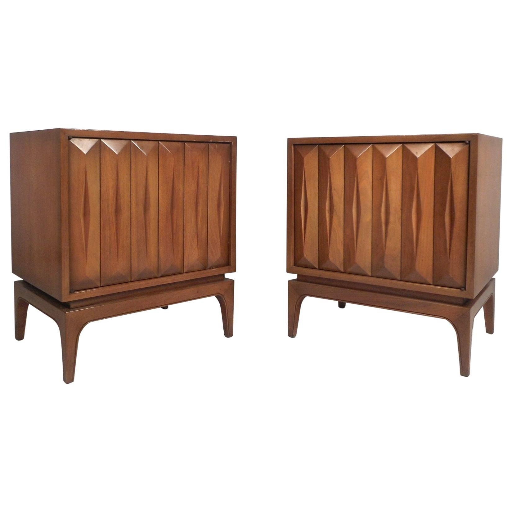 Pair of Midcentury Walnut Nightstands