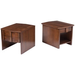 Pair of Vintage Mid-Century Walnut Nightstands