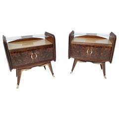 Pair of Midcentury Walnut Nightstands with a Golden Back-Painted Glass Top
