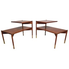 Pair of Midcentury Walnut Two-Tier End Tables