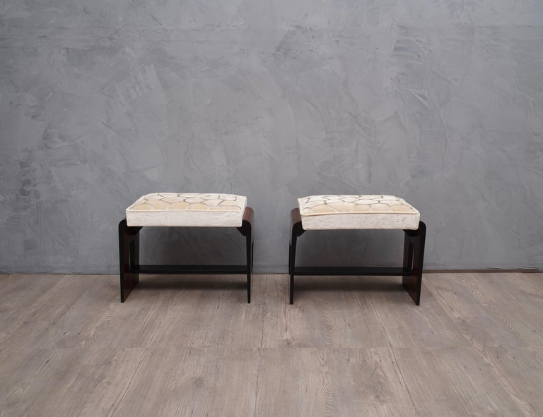 Pair of Midcentury Walnut Wood and Velvet Stool, 1940 In Excellent Condition In Rome, IT