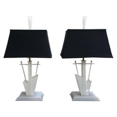 Pair of Midcentury White 1950s Lucite American Modernist Lamps Moss Lighting Co