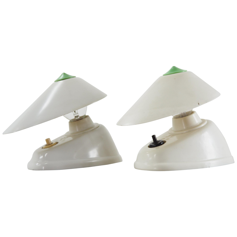 Pair of Midcentury White Bakelite Table or Wall Lamp, 1960s