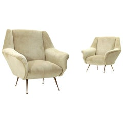 Pair of Midcentury white cream velvet armchairs, 1950s