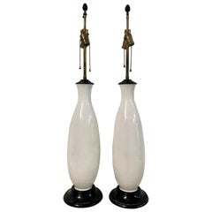 Pair of Midcentury White Glaze Ceramic Table Lamps, circa 1960