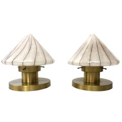 Pair of Midcentury White Murano Glass and Golden Brass Italian Table Lamps 1970s