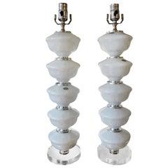 Pair of Midcentury White Murano Glass Lamps