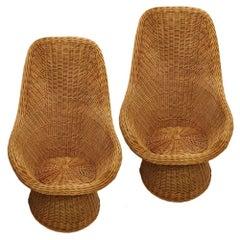 Pair of Midcentury Wicker Chairs