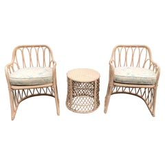 Pair of Mid Century Wicker Chairs with Matching Table