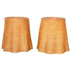 Pair of Midcentury Wicker Drape Tables or Stands