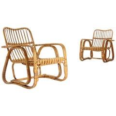 Pair of Midcentury Wicker Rattan Cane Armchairs, 1950s