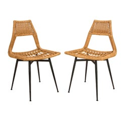 Pair of Midcentury Wicker Side Chairs on Black Metal Bases
