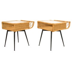 Pair of Midcentury Wicker Side Tables on Iron Bases with Glass Tops