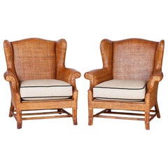 Pair of Midcentury Wicker Wingback Armchairs by Baker