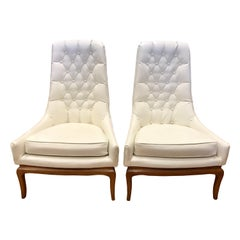 Pair of Midcentury Widdicomb Robsjohn-Gibbings Quilted White Tufted Tall Chairs
