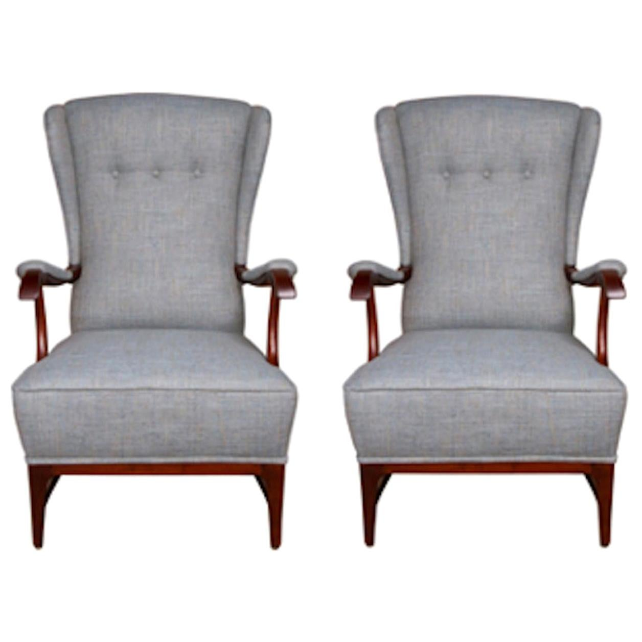 Pair of Midcentury Wingback Armchairs by Paolo Buffa