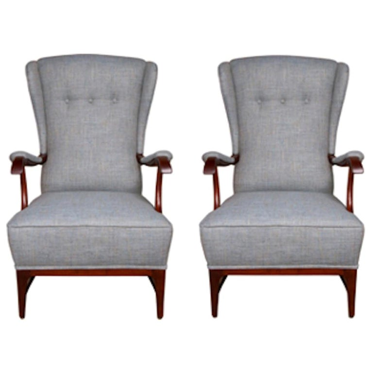 Pair of Midcentury Wingback Armchairs by Paolo Buffa For Sale