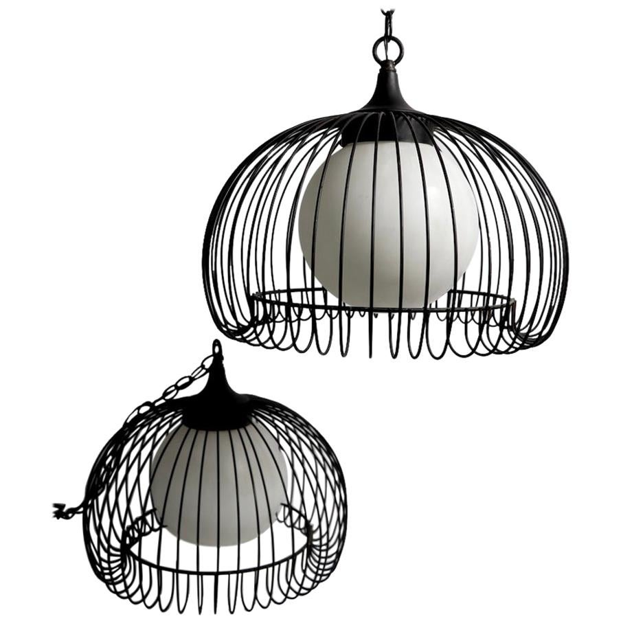 Pair of Mid Century Wire Cage Chandeliers