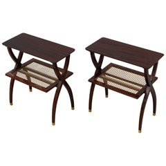 Pair of Midcentury Wood and Brass Tables