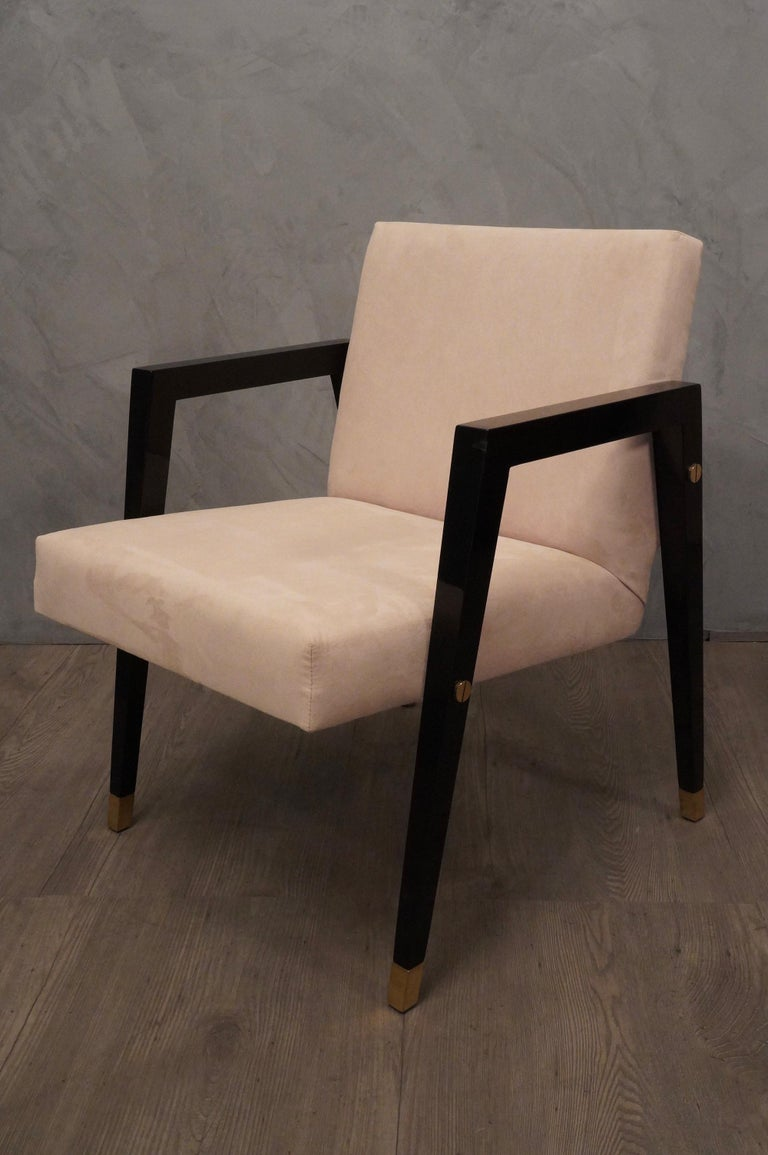 Pair of Midcentury Wood Fabric and Brass Italian Armchairs, 1950 For Sale 4