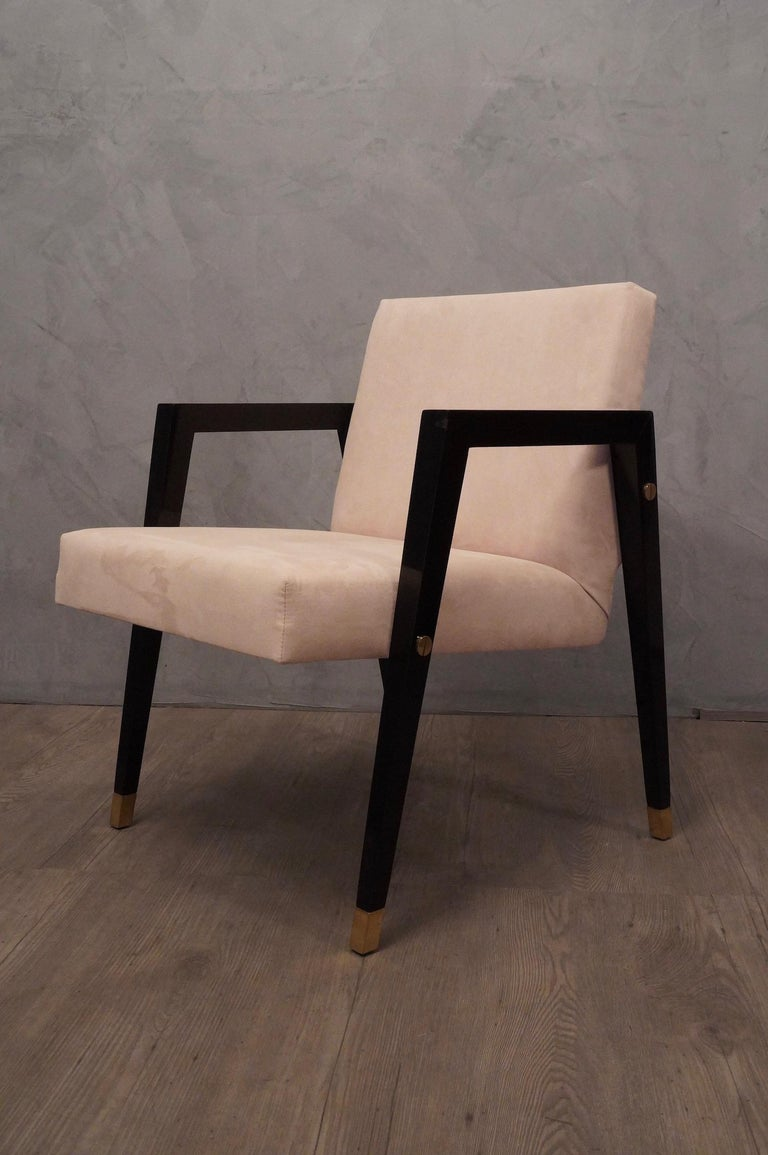 Pair of Midcentury Wood Fabric and Brass Italian Armchairs, 1950 For Sale 5