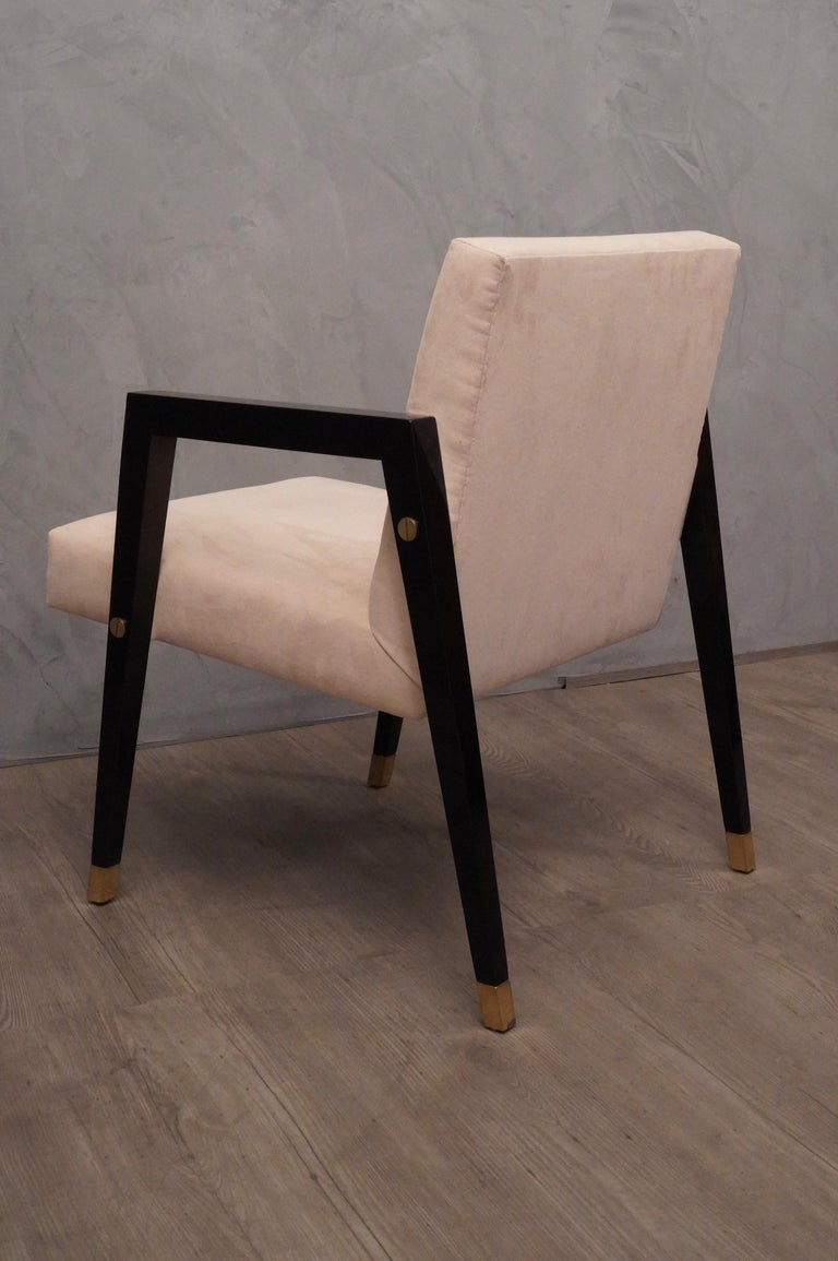 Pair of Midcentury Wood Fabric and Brass Italian Armchairs, 1950 For Sale 6