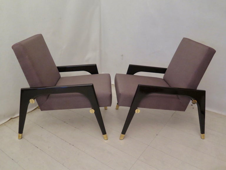 Pair of Midcentury Wood Fabric and Brass Italian Armchairs, 1950 For Sale 7