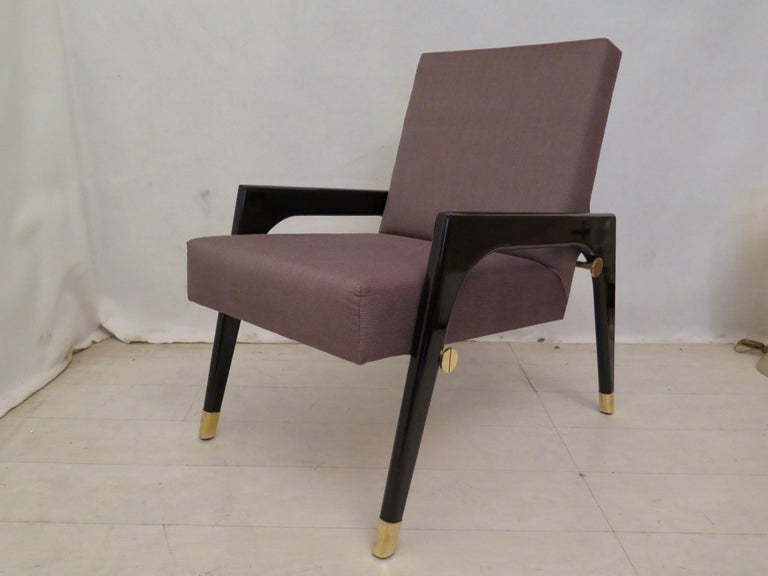 Pair of Midcentury Wood Fabric and Brass Italian Armchairs, 1950 For Sale 8