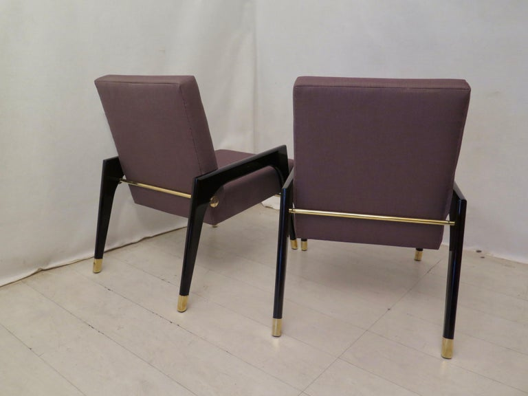 Pair of Midcentury Wood Fabric and Brass Italian Armchairs, 1950 For Sale 9