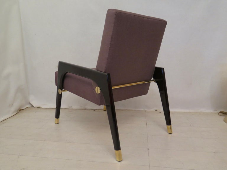 Pair of Midcentury Wood Fabric and Brass Italian Armchairs, 1950 For Sale 10