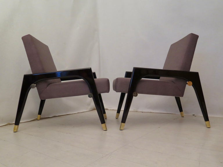 Pair of Midcentury Wood Fabric and Brass Italian Armchairs, 1950 For Sale 11
