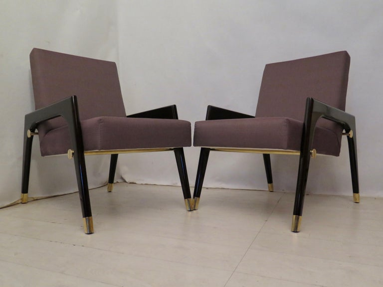 Mid-Century Modern Pair of Midcentury Wood Fabric and Brass Italian Armchairs, 1950 For Sale