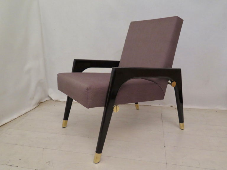 Pair of Midcentury Wood Fabric and Brass Italian Armchairs, 1950 In Excellent Condition For Sale In Rome, IT