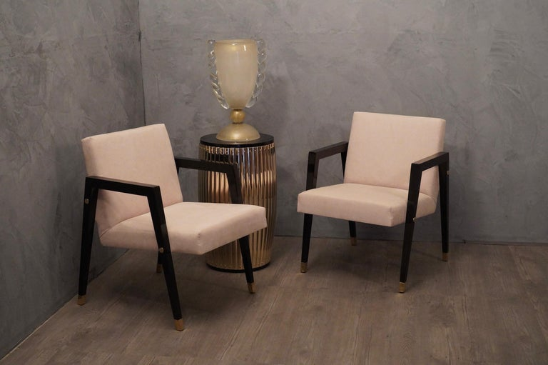 Mid-20th Century Pair of Midcentury Wood Fabric and Brass Italian Armchairs, 1950 For Sale