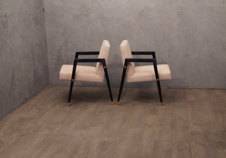 Pair of Midcentury Wood Fabric and Brass Italian Armchairs, 1950 For Sale 1