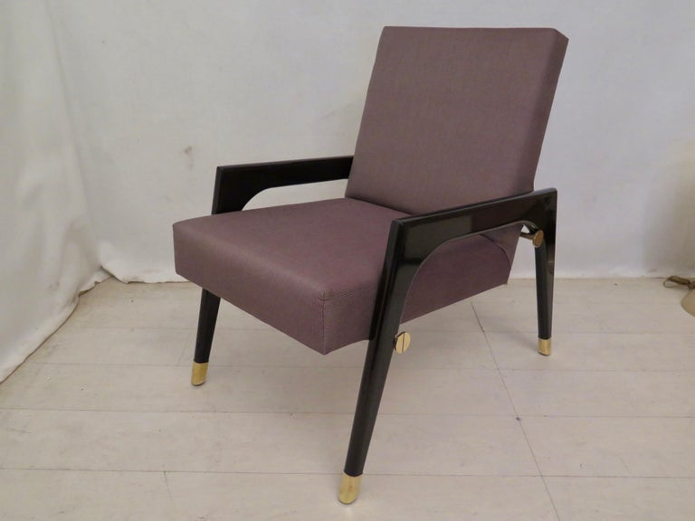 Pair of Midcentury Wood Fabric and Brass Italian Armchairs, 1950 For Sale 2