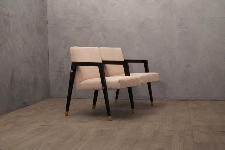 Pair of Midcentury Wood Fabric and Brass Italian Armchairs, 1950 For Sale 3