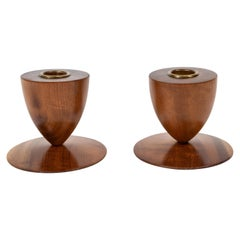 Pair of Midcentury Wood Footed Candleholders