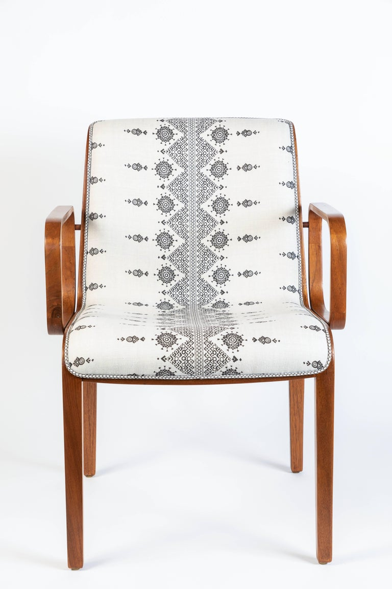 This pair of midcentury bentwood armchairs have been newly upholstered in Peter Dunham