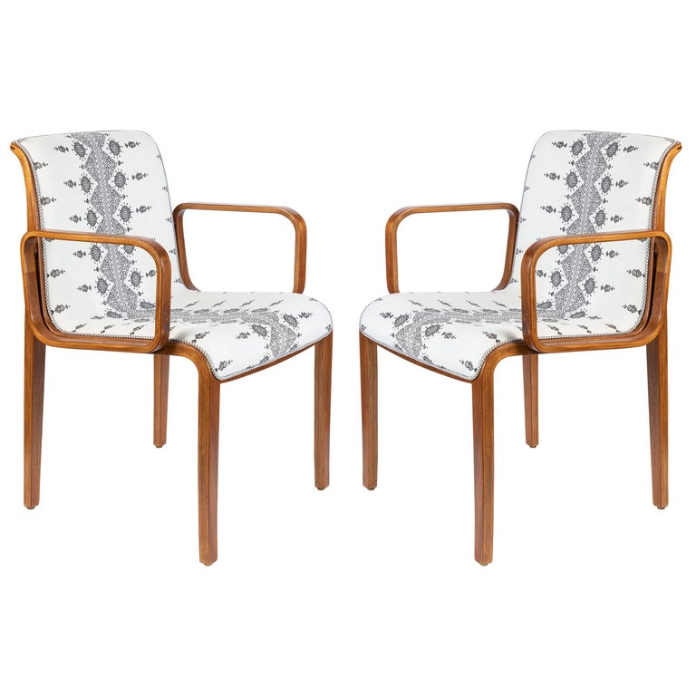 Pair of Midcentury Bentwood Armchairs Newly Upholstered in Peter Dunham Linen For Sale