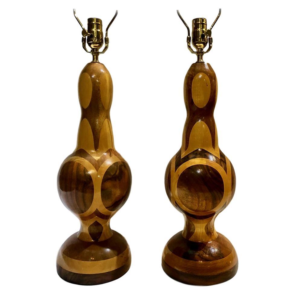 Pair of Midcentury Wood Lamps