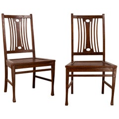 Pair of Midcentury Wooden Vintage Indonesian Side Chairs with Pierced Splats