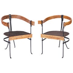 Pair of Midcentury Wrought Iron and Bamboo Armchairs