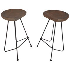 Pair of Midcentury Wrought Iron Bar Stools