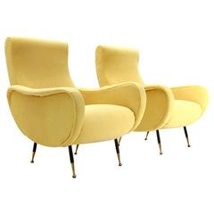 Pair of Midcentury Yellow Italian Armchairs, 1950s