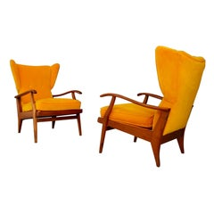 "Pair of Midcentury Yellow Velvet and Cherry Wood Italian ""Camea"" Armchairs, 1950"