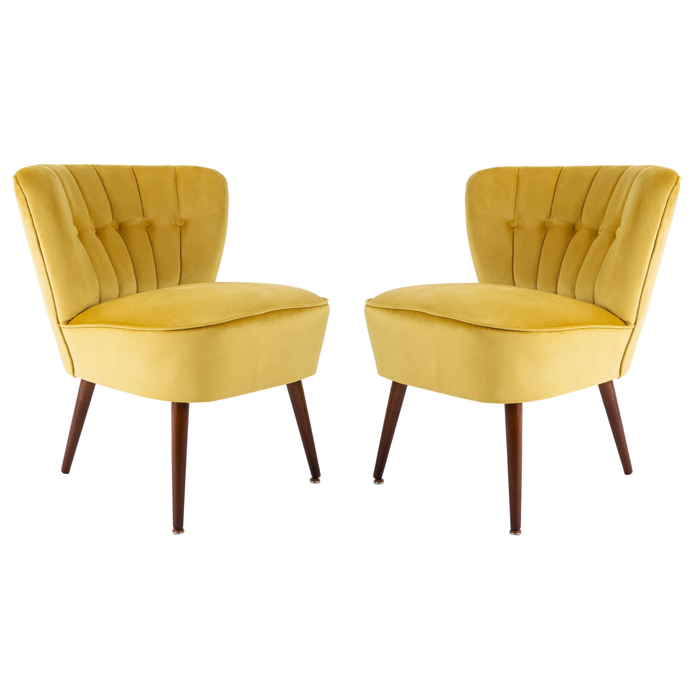 Pair of Midcentury Yellow Velvet Club Armchairs, Germany, 1960s