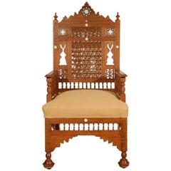Pair of Middle Eastern Arabian Syrian Moorish Royal Throne Armchairs